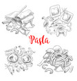 Pasta and italian macaroni sketch vector image