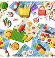 picnic outside tablecloth with food and clothes vector image