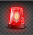 red flasher siren realistic object light vector image vector image
