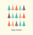 retro christmas trees card vector image