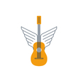 Rock guitar acoustic music thin lines icon and vector image vector image