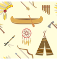 Seamless background with american indian icons vector image vector image