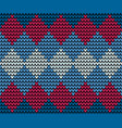 seamless blue squares knitting vector image vector image
