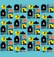 seamless pattern with halloween design black and vector image