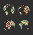 set abstract globe earth colorful dots vector image vector image