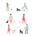 set people with dogs stand vector image vector image
