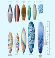 set surfboards with original design and size vector image
