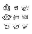 sketch crown simple crowns hand drawn vector image vector image
