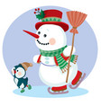 snowman in a red top hat ice skating and with a vector image vector image