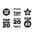 top twenty 20 black and white icon set vector image vector image
