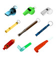 whistle sport blowing equipment referee vector image vector image