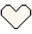 white pixel heart isolated vector image