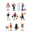 young women and men carrying shopping bags with vector image