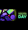 youth day web banner of fun teen hobby icons vector image vector image
