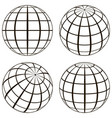set globe the technical picture of the contours of vector image