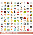 100 marriage icons set flat style vector image vector image