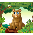 A big bear in the forest vector image vector image
