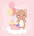 bashower teddy bear pram balloons card cartoon vector image vector image