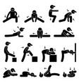 body stretching exercise stick figure pictogram vector image vector image