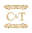 c and t vintage initials logo symbol the letters vector image