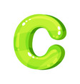 c green glossy bright english letter kids font vector image