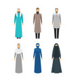 cartoon color middle east man and woman religious vector image