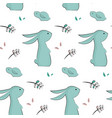 childish pattern with cute rabbits vector image vector image