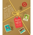 Christmas gift with vintage postage stamps vector image