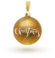 christmas greeting card gold christmas ball with vector image vector image