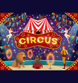 circus animal trainer and acrobats carnival show vector image vector image