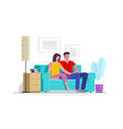 couple at home sitting on sofa vector image