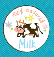 Cow and milk funny label vector image vector image