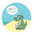 Crocodile With a Book - Error 404 vector image vector image