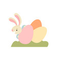 cute bunny with colorful eggs happy easter vector image vector image
