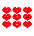 cute heart shape emoji set funny kawaii cartoon vector image vector image