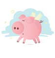 cute pink pig with wings vector image vector image