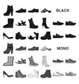 different shoes black icons in set collection for vector image vector image