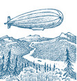 Dirigible or zeppelin on background the