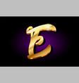 e alphabet letter golden 3d logo icon design vector image vector image