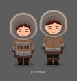 eskimos in national clothes vector image vector image