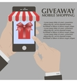 Gift box on screen smartphone vector image vector image