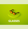 glasses isometric icon isolated on color vector image vector image