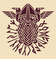 god wotan and two ravens in a circle of norse vector image vector image
