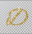 gold glitter powder letter d in hand painted style vector image vector image