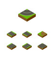 isometric way set of turning single-lane vector image vector image