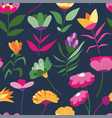 lilac and daisies flowers in bloom pattern vector image vector image