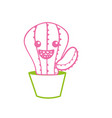 line kawaii cute happy cactus plant vector image vector image