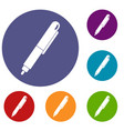 marker pen icons set vector image vector image