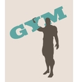 Muscular man holding gym word silhouette vector image vector image