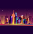 new york night cityscape cartoon vector image